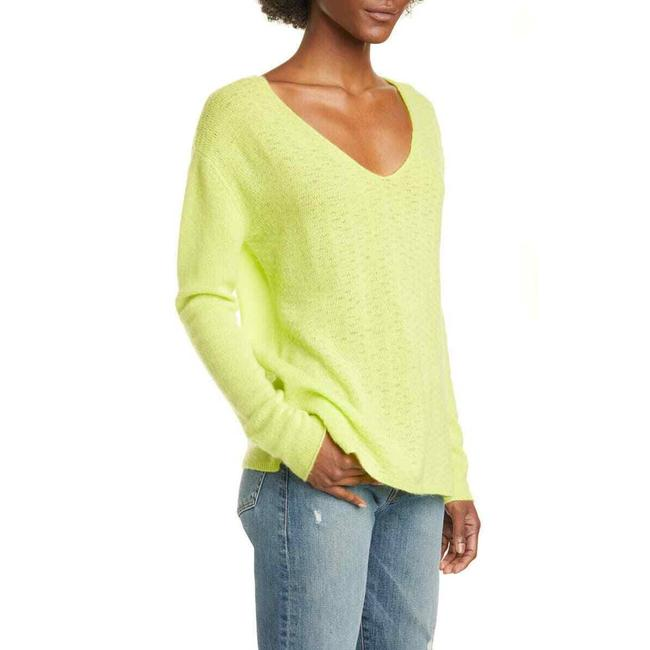 Item - L New Large Pointelle V Neck Cashmere Neck Yellow Sweater