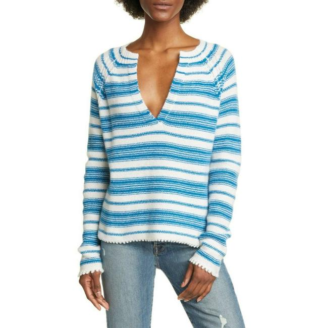 Item - L New Large Serafino Hand Knotted Cashmere Blue Sweater