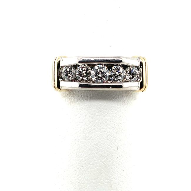 Item - White and Yellow Gold 14kt Diamond Ring / Two Tone Solid Ring Men's Wedding Band