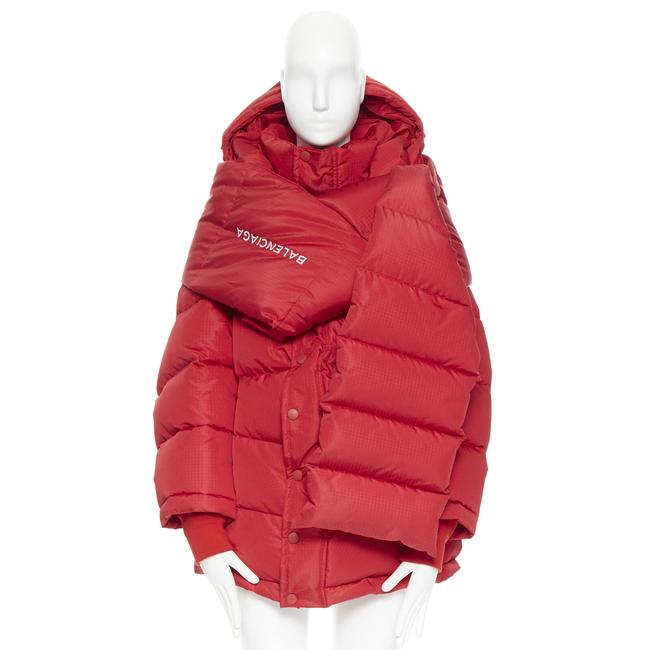 Item - Red Demna Technical Logo Embroidered Duck Down Scarf Jacket Coat Size 2 (XS)