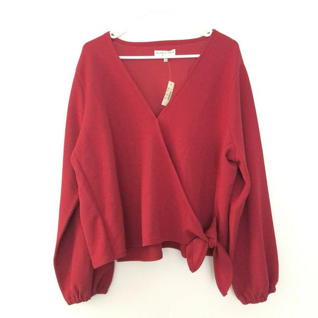 Item - Red New Texture and Thread 3x Xxxl Faux Wrap Long Sleeve Tee Shirt Size 26 (Plus 3x)