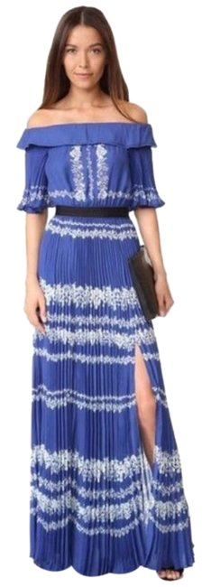 Item - Blue White Pleated Off-shoulder Maxi Long Cocktail Dress Size 2 (XS)