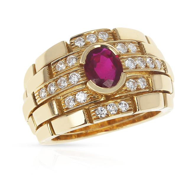 Item - Red Maillon Panthere Design Oval Ruby and Diamonds 18k Ring