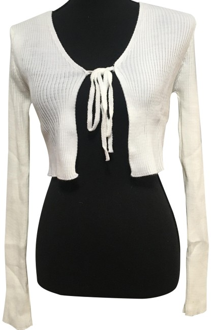Item - White Tie Front Ribbed Cardigan Size 8 (M)