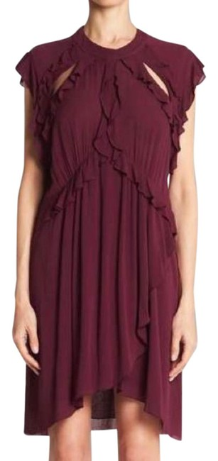 Item - Red Aya Cutout Ruffled Crinkled Gauze Mid-length Cocktail Dress Size 10 (M)