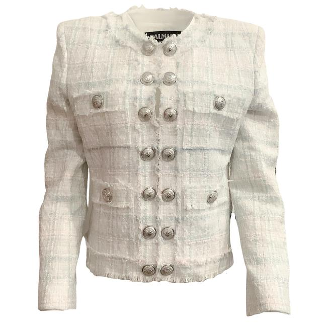 Item - Light Blue and White Tweed Silver Button Blazer Size 10 (M)