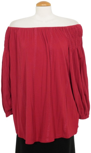 Item - Red Jersey Cotton Modal Embroidered On Off Shoulder 3x Blouse Size 28 (Plus 3x)