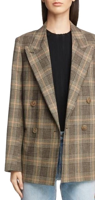 Item - Brown Plaid Checked Double Breasted Wool Jacket 34 Blazer Size 4 (S)