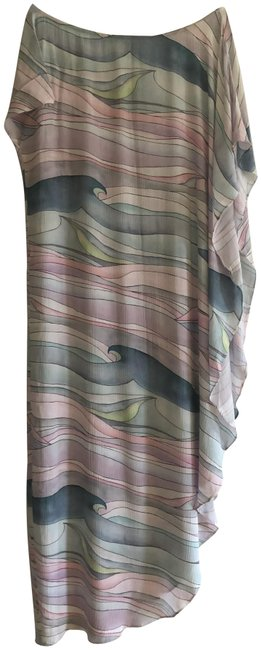 Item - Multi Pastels Pink Waves Asymmetric Printed Crepon Long Casual Maxi Dress Size OS (one size)
