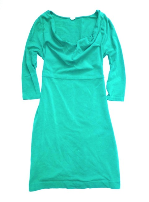Item - Teal Green Cowlneck 3/4 Sleeve Knit Mid-length Short Casual Dress Size 6 (S)