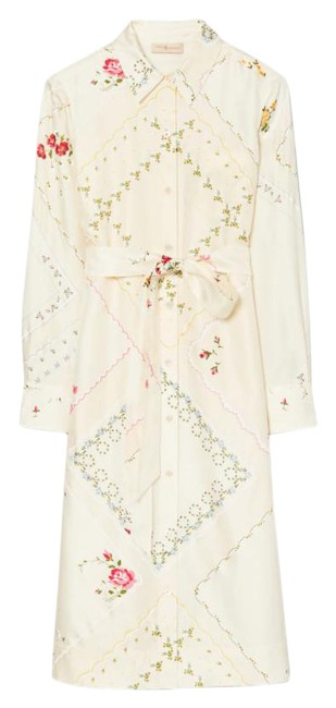 Item - Silk Afternoon Tea Handkerchief Printed Shirtdress Mid-length Casual Maxi Dress Size 4 (S)