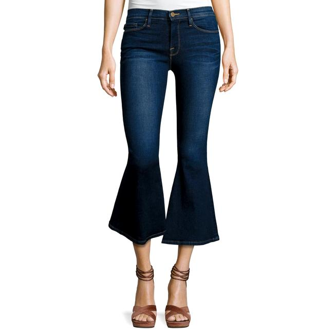 Item - Blue Dark Rinse Bell Crop Flare Leg Jeans Size 25 (2, XS)
