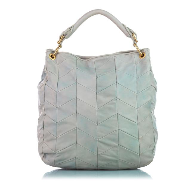 Item - Bag Quilted White Lambskin Leather Tote