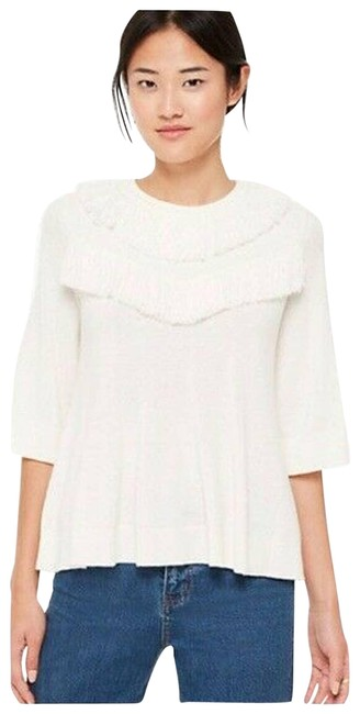 Item - L Large Fringe Wool Blend White Sweater