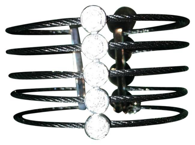 Item - Silver Five-strand Bangle with White Topaz-accented Circle Stations Bracelet
