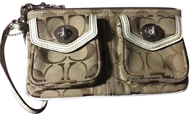 Item - Adorable Brown and Tan Canvas Blend Wristlet