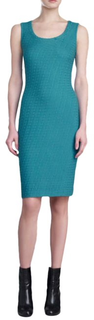 Item - A Teal Color Box Knit Mid-length Work/Office Dress Size 6 (S)