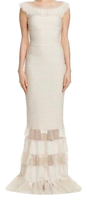 Item - Cream Ivory Ruffle Long Formal Dress Size 6 (S)