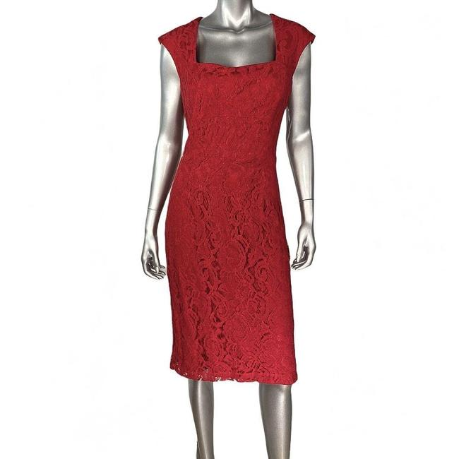 Item - Red Ricco Lace Sheath Cocktail Dress Size 10 (M)