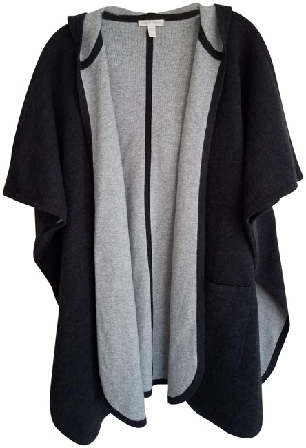 """Item - Charcoal """"Hooded Jacket In Merino Doubleknit Cotton and Cashmere"""" Poncho/Cape Size OS (one size)"""