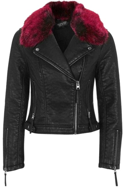 Item - Black Faux Fur Trim Leather Moto Jacket Coat Size 4 (S)