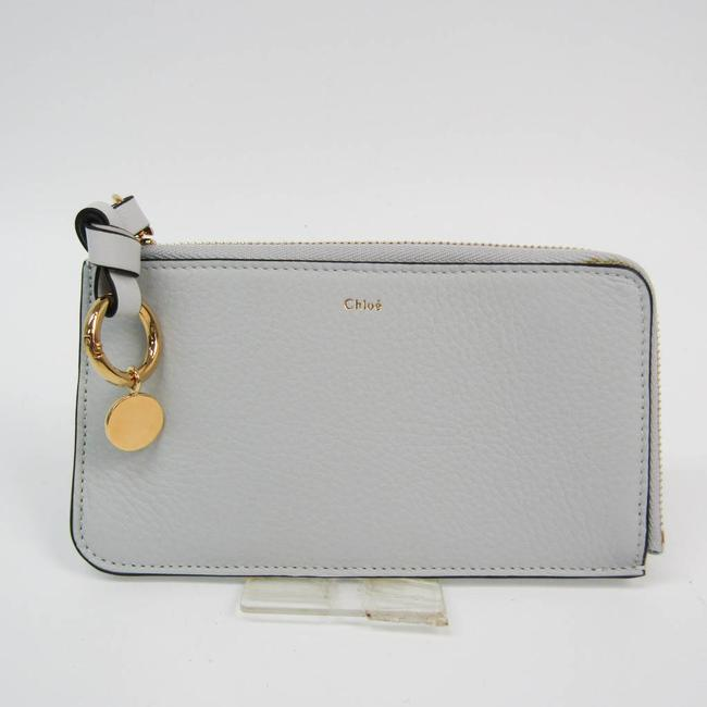 Item - Light Blue Gray Chloé Alphabet Medium Purse with Slot Cards Key Pocket Chc19wp016h9q44l Women's Leather Coin Purse/Coin Wallet