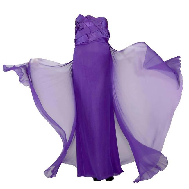 Item - Purple New Embellished Silk Gown Long Night Out Dress Size 8 (M)