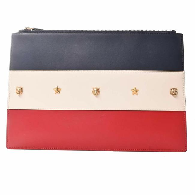 Item - Tiger Star Studs Navy / Red Color / White Leather Clutch