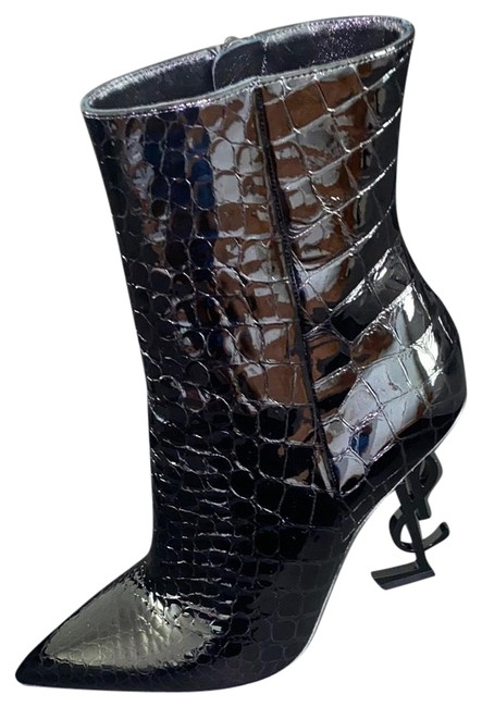Item - Black Opyum Mock-croc with Monogram Ysl Heel Boots/Booties Size US 10 Narrow (Aa, N)