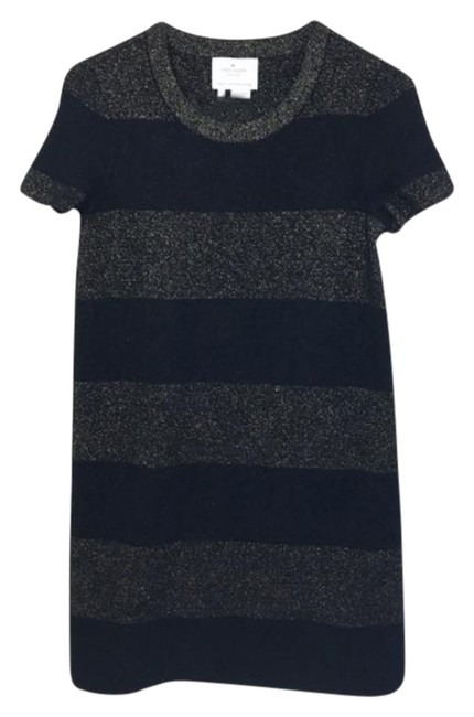 Item - Black Gold Sparkle Striped Knit Sweater Short Casual Dress Size 4 (S)