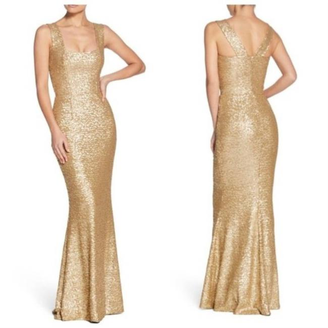 Dress the Population Gold Raven Sequin Gown Small Long Formal Dress Size 4 (S) Dress the Population Gold Raven Sequin Gown Small Long Formal Dress Size 4 (S) Image 1