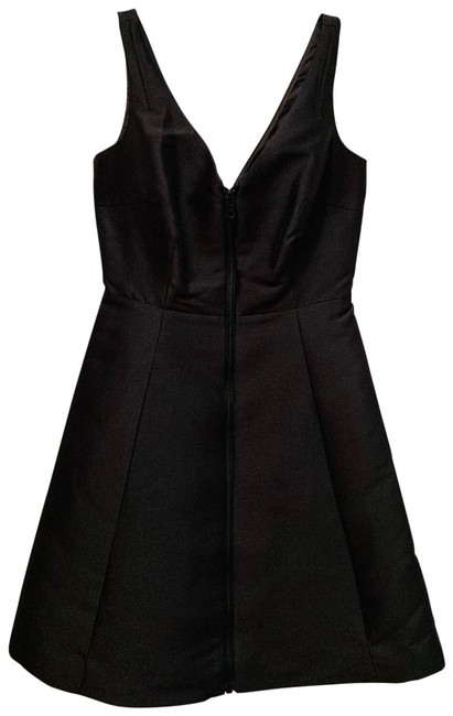 Item - Black Dive Right In Zip Front Mid-length Cocktail Dress Size 2 (XS)