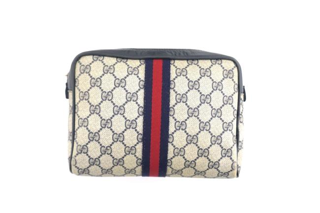 Item - Navy Blue Vintage Supreme Web Gg Monogram Canvas and Lather Travel Toiletry Cosmetic Bag