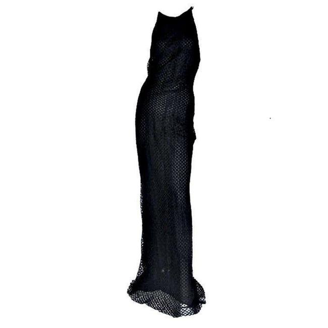 Item - Black Gianni Couture Vintage Lace Gown with Crystals Long Night Out Dress Size 10 (M)