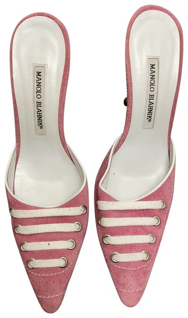 Item - Pink; White Suede Lace Mules/Slides Size EU 37 (Approx. US 7) Regular (M, B)