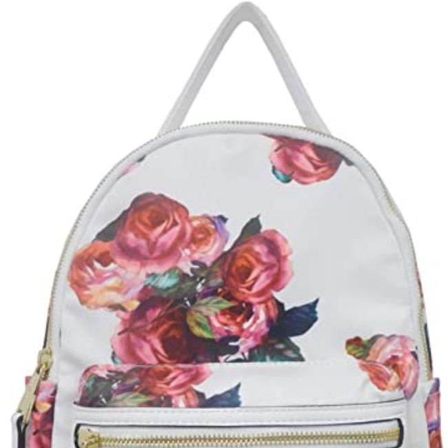 Item - Print White and Rose Faux Leather Backpack