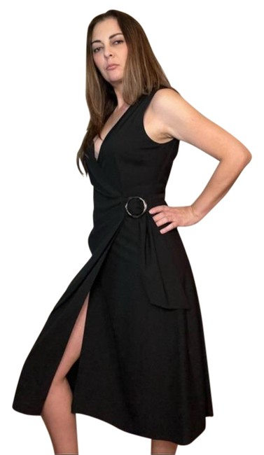 Item - Black Belted Faux-wrap Midi Mid-length Night Out Dress Size 8 (M)