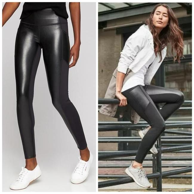 Item - Black Gleam Chaturanga To Town Faux Leather with Pockets Sp Leggings Size Petite 4 (S)