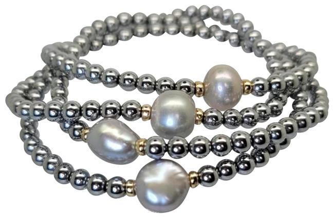 Top Gold & Diamond Jewelry Silver Pink 4 Stretch Stands Hematite Beads and 4 Cultured Fw Pearl Bracelet Top Gold & Diamond Jewelry Silver Pink 4 Stretch Stands Hematite Beads and 4 Cultured Fw Pearl Bracelet Image 1