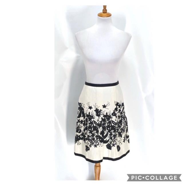 Item - White and Black A Line Floral Print Linen Skirt Size 6 (S, 28)