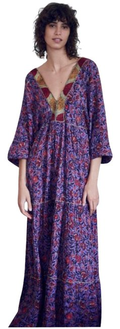 Item - Purple Embroidered Boho Long Casual Maxi Dress Size 6 (S)