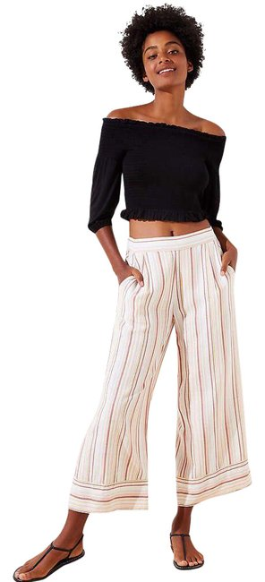 Item - White Beach Stripe Flowy Capri Pants Size 2 (XS, 26)