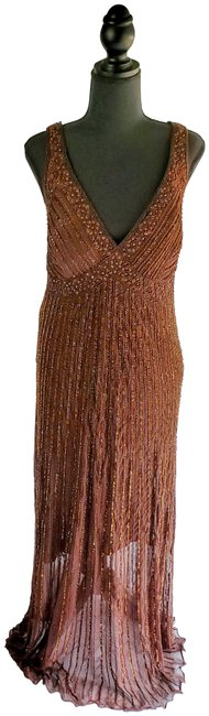 Item - Brown Beaded Evening Long Formal Dress Size 16 (XL, Plus 0x)