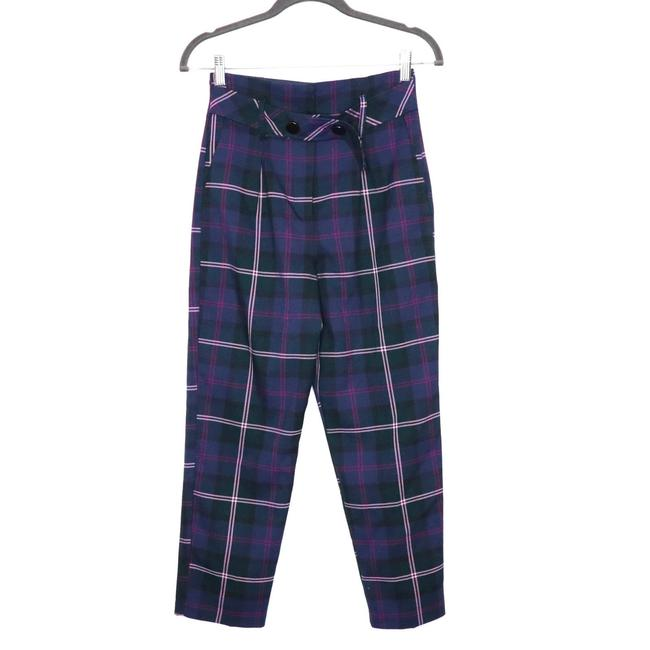 Item - Blue High Waist Check Belted Tapered Ankle Navy Purple Pants Size 2 (XS, 26)