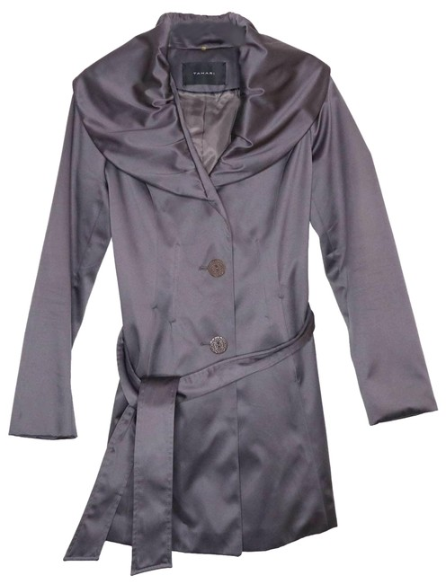 Item - Gray Shawl Collar Belted Lined Trench Coat Jacket Size 4 (S)