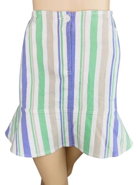 Item - Purple Green Striped Poplum Hem Nwts Skirt Size 8 (M, 29, 30)