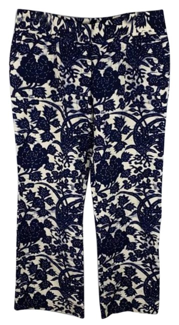 Item - Blue Cream Floral Linen Pants Size 12 (L, 32, 33)