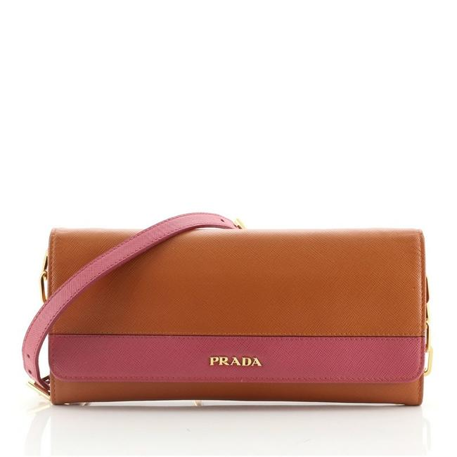Item - Wallet on Chain Saffiano Orange Pink Leather Clutch