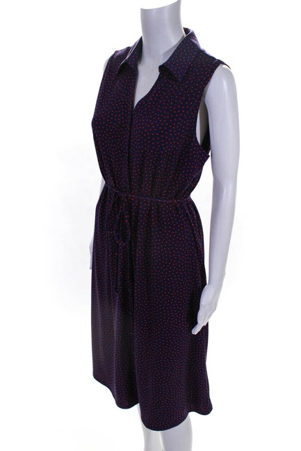 Item - Navy Blue and Red Polka Dot Belted Button Mid-length Work/Office Dress Size 10 (M)