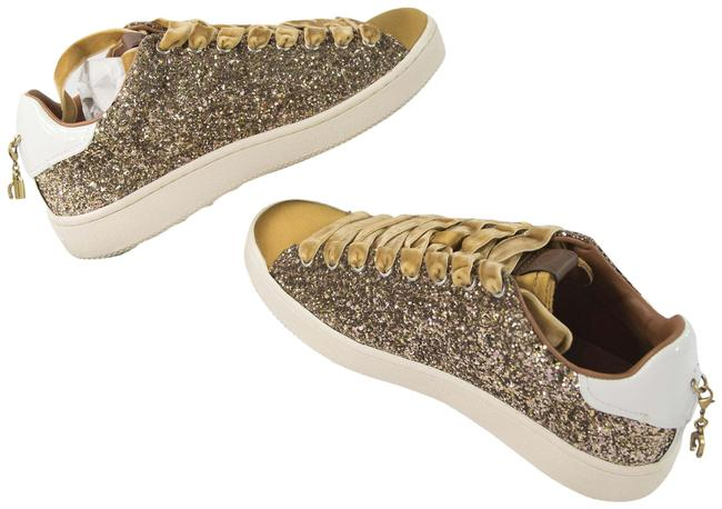 Item - Gold Marigold Leather Glitter Satin Velvet Flatform Sneakers Size US 9.5 Regular (M, B)